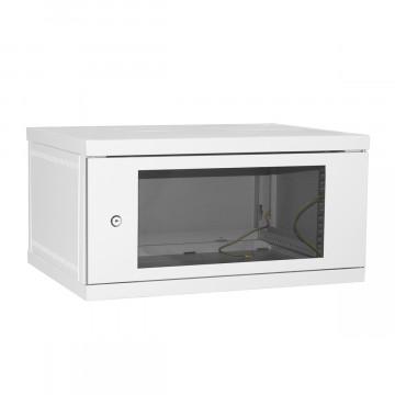 Шкаф настенный 6U 600*600 серый дверь-стекло