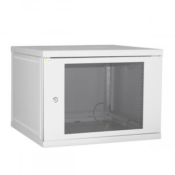 Шкаф настенный 9U 600*600 серый дверь-стекло