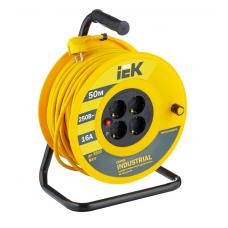 Удлинитель на катушке силовой IEK 4 розетки 50м УК50 Industrial 16А IP20 с/з